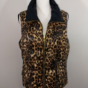 Chico's Leopard Print Puffer Vest Size M